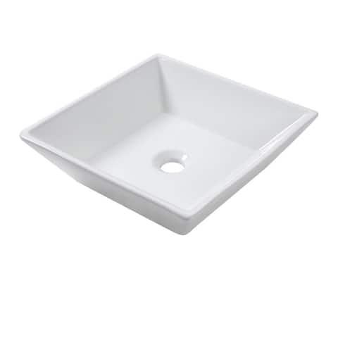 "Lordear 16"" Inch Square Bathroom Vessel Sink Basin - 16.5x16.5x6"