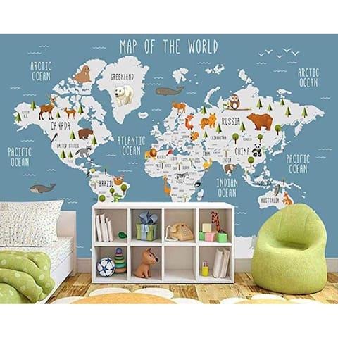 Blue World Map Wall Mural Cartoon Animal Textile Wallpaper