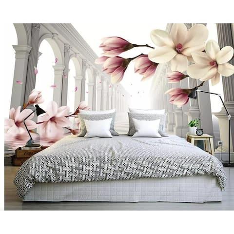 3D Magnolia Flower Abstract Column TEXTILE Wallpaper