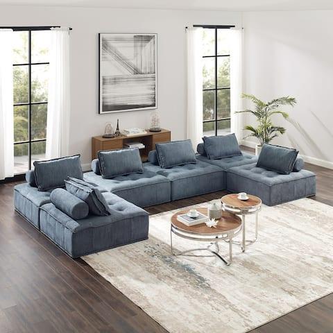 Modern 6 Piece Cube Modular Sectional Sofa Sets