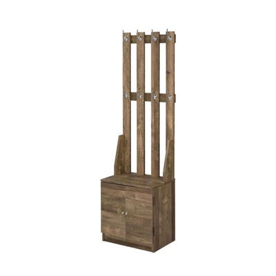Wooden Hall Tree with 8 Hooks and Bottom Compartment, Weathered Brown