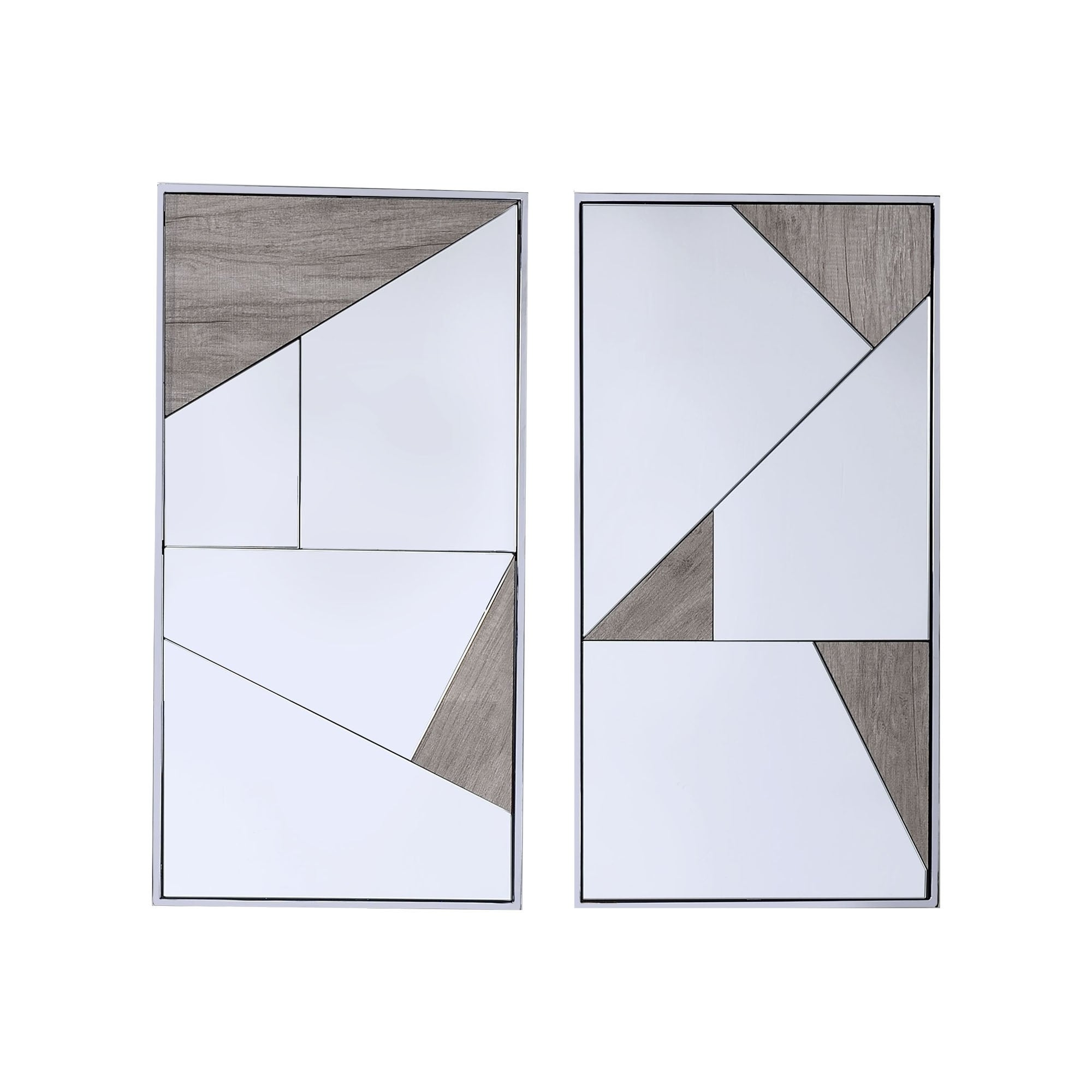 Contemporary Accent Mirror With Geometric Pattern Set Of 2 Silver And Gray Overstock 30977640