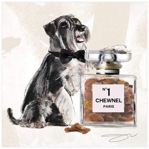 """Schnauzer"" Dog Wall Art Print Unframed Free Floating Tempered Glass"