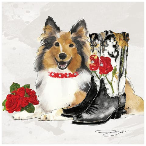 """""""Collie"""" Dog Wall Art Print on Unframed Free Floating Tempered Glass"""