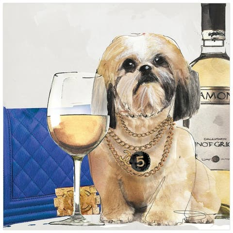 """""""Lhasa Apso"""" Dog Wall Art Print Unframed Free Floating Tempered Glass"""