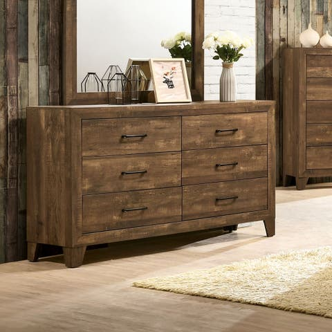 Furniture of America Loa Transitional Rustic Light Walnut Dresser