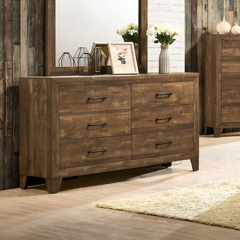 Furniture of America Loa Transitional Rustic Light Walnut Dresser