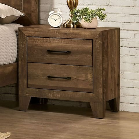 Furniture of America Loa Transitional Rustic Light Walnut Nightstand