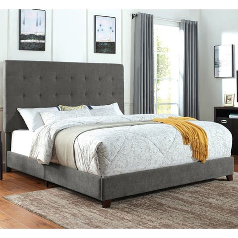 Furniture of America Nida Transitional Grey Tufted Panel Bed