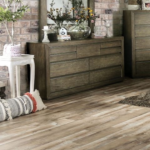 Furniture of America Puly Transitional Light Walnut Solid Wood Dresser