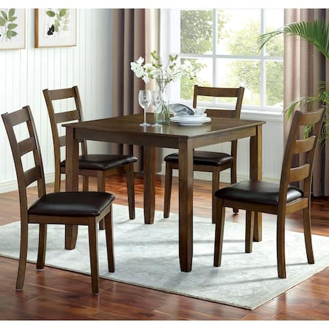Furniture of America Oma Transitional Walnut 5-piece Dining Table Set