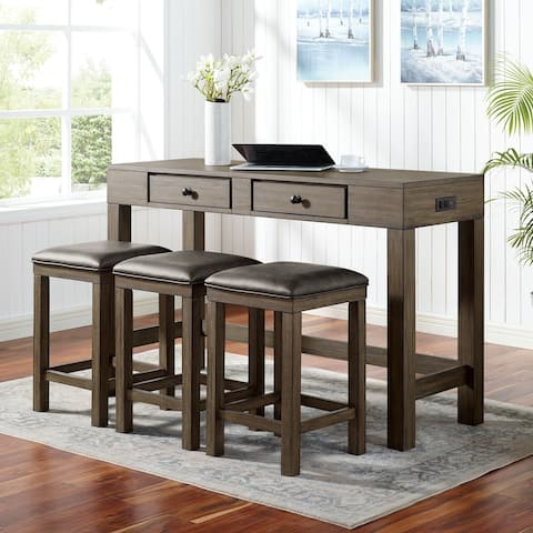 Furniture of America Naht Transitional Brown 4-piece Counter Dining Set