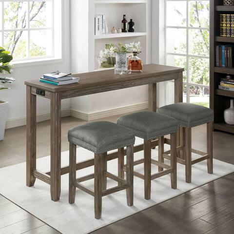 Furniture of America Bukt Grey 4-piece Counter Dining Set