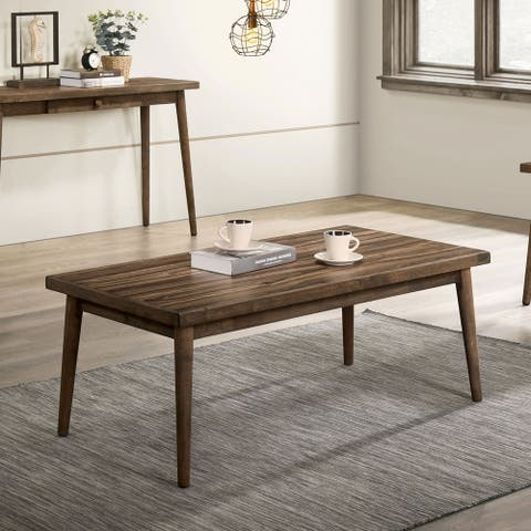 Furniture of America Abi Mid-Century Walnut Solid Wood Coffee Table