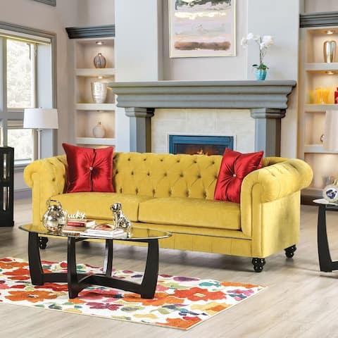 Furniture of America Ryn Transitional Royal Yellow Solid Wood Sofa