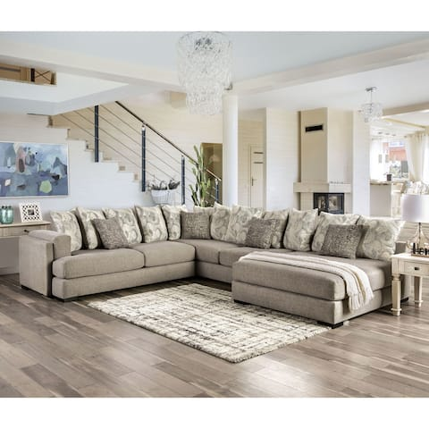 Furniture of America Stym Transitional Grey Solid Wood Sectional