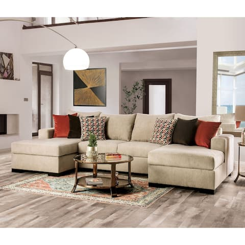 Furniture of America Blum Transitional Beige Solid Wood Sectional