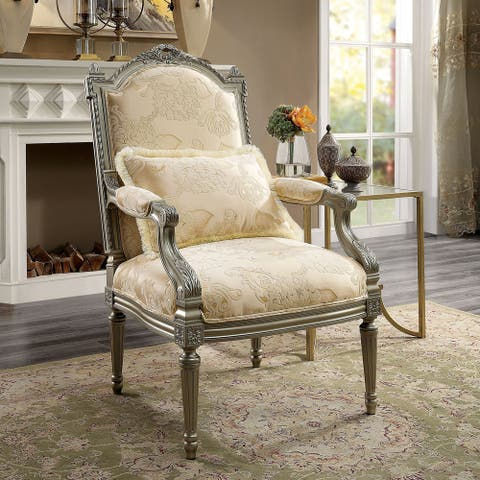 Furniture of America Zeth Traditional Beige Solid Wood Chair