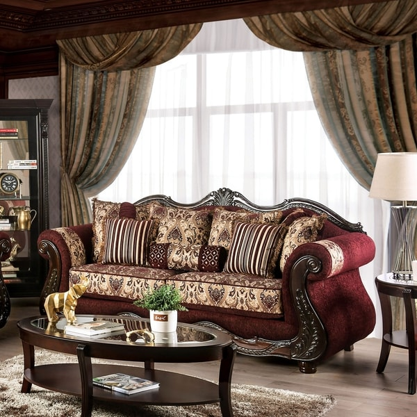 Furniture of America Estra Traditional Red Solid Wood Padded Sofa. Opens flyout.