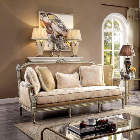 Furniture of America Zeth Traditional Beige and Champagne Sofa