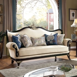 Furniture of America Teep Traditional Beige Solid Wood Padded Sofa