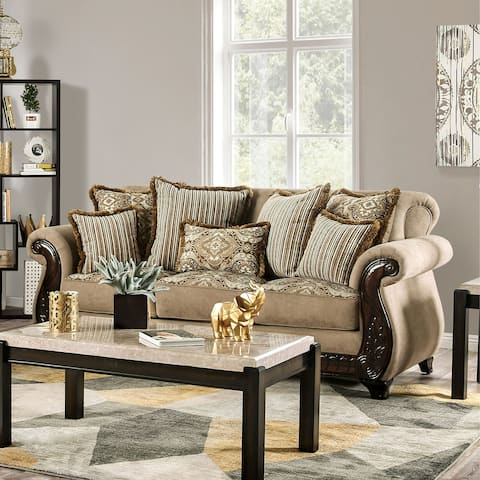 Furniture of America Nillie Traditional Solid Wood Sensation Sofa