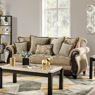 Link to Furniture of America Nillie Traditional Solid Wood Sensation Sofa Similar Items in Sofas & Couches