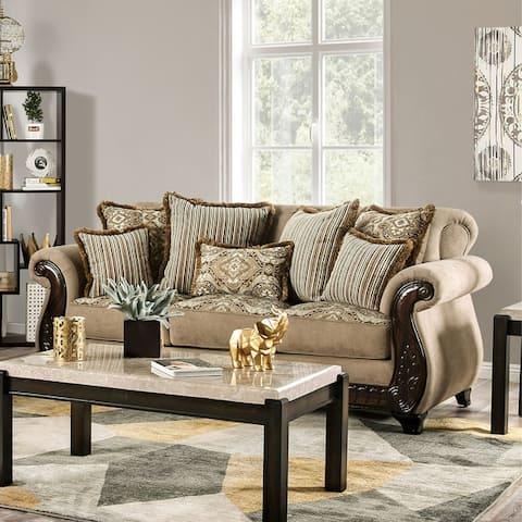 Furniture of America Nillie Traditional Solid Wood Sensation Sofa
