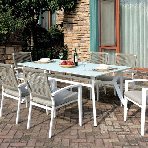 Furniture of America Miru Transitional White 71-inch Metal Patio Table