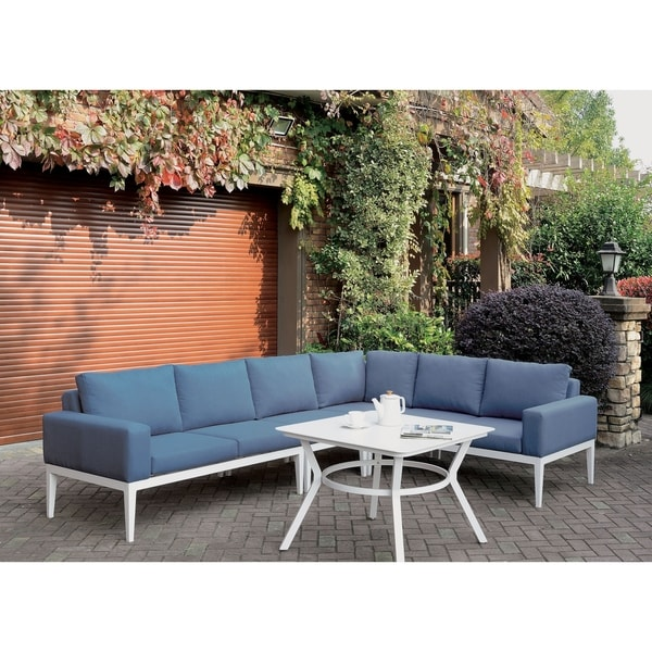 Furniture of America Tarm Contemporary Blue Metal Padded Sectional. Opens flyout.