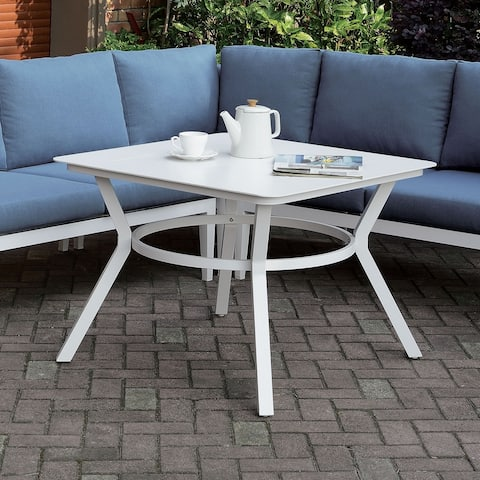 Furniture of America Tarm Contemporary White 36-inch Metal Patio Table