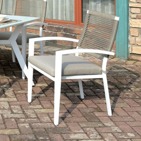 Furniture of America Miru Transitional White Arm Chairs (Set of 6)