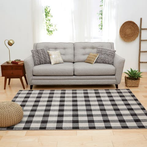 Furniture of America Spid Contemporary Gingham Onyx Polyester Area Rug