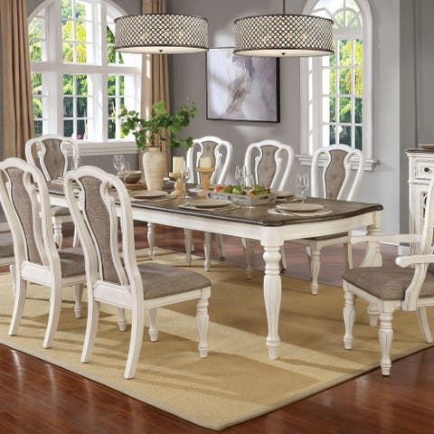 Furniture of America Fant Transitional White Metal Wash Dining Table