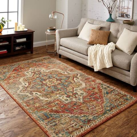 Furniture of America Thyr Contemporary Spice Rose Area Rug