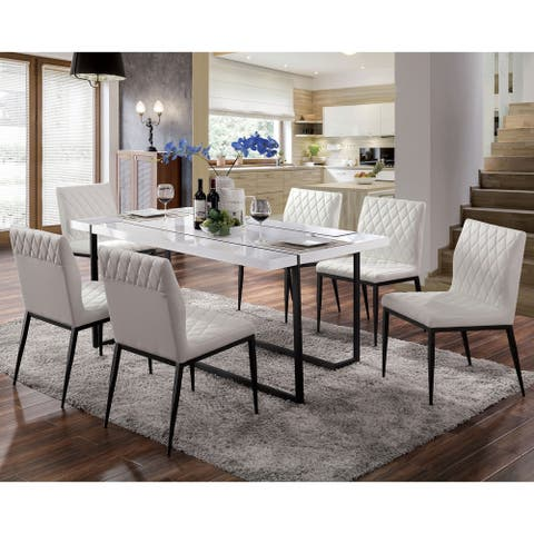 Furniture of America Payn Contemporary White Solid Wood Dining Table
