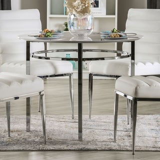 Furniture of America Lera Contemporary White Round Dining Table