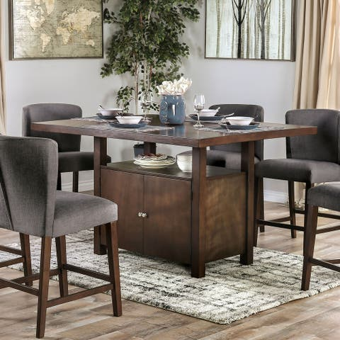 Furniture of America Dard Transitional Walnut Solid Wood Counter Table