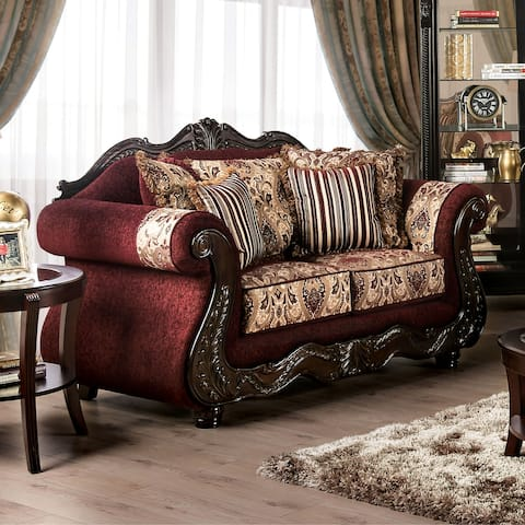 Furniture of America Estra Traditional Red Solid Wood Padded Loveseat