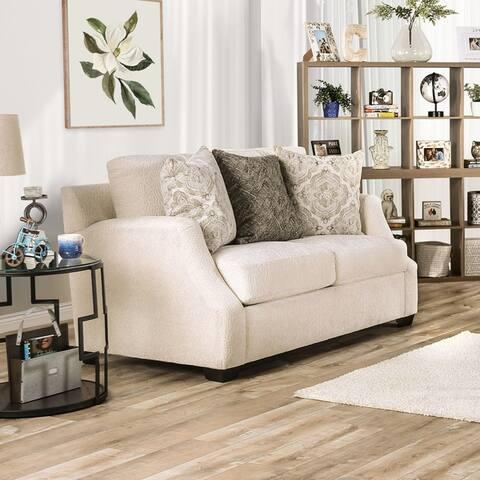 Furniture of America Blik Transitional Solid Wood Padded Loveseat