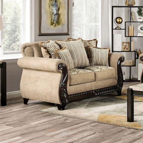 Furniture of America Nillie Traditional Solid Wood Loveseat