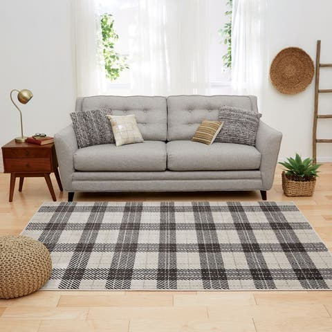 Furniture of America Spid Contemporary Plaid Beige Polyester Area Rug