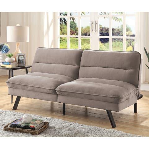 Furniture of America Juwa Transitional Grey Flannelette Futon