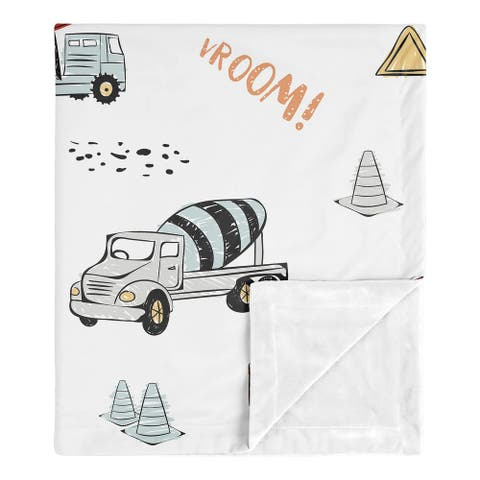 Sweet Jojo Designs Construction Truck Boy Baby Receiving Security Swaddle Blanket - Grey Yellow Red Blue Transportation
