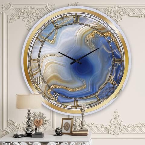 Designart 'Ocean Blue Golden Jasper Agate I' Modern wall clock