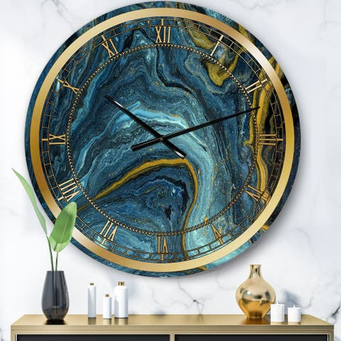 Designart 'Agathe Ripple Golden Rivers' Modern wall clock