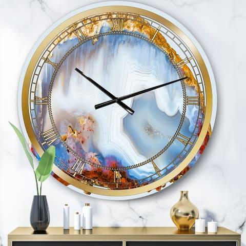 Designart 'Chalcedony Quartz Gold and Blue I' Modern wall clock