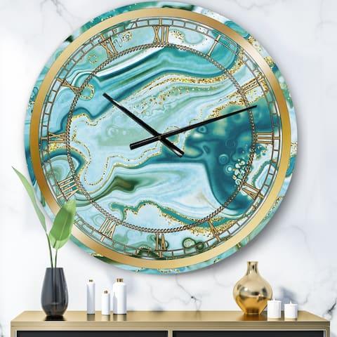 Designart 'Ocean Blue Golden Marble ' Modern wall clock