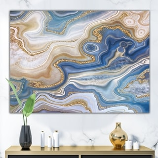 Link to Designart 'Ocean Blue Golden Jasper Agate II' Modern Canvas Wall Art Print Similar Items in Canvas Art