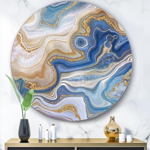 Designart 'Ocean Blue Golden Jasper Agate II' Modern Round Circle Metal Wall Decor Panel